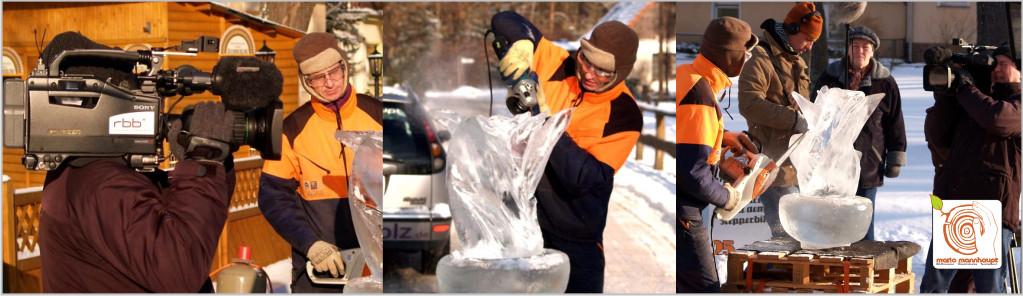 Eisskulpturen fertigt die Bildhauerei Mario Mannhaupt