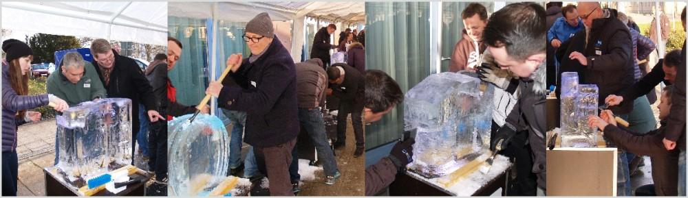 Teamevent Eisskulptur schnitzen