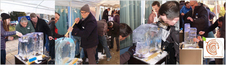 Firmenevent Eisskulptr schnitzen